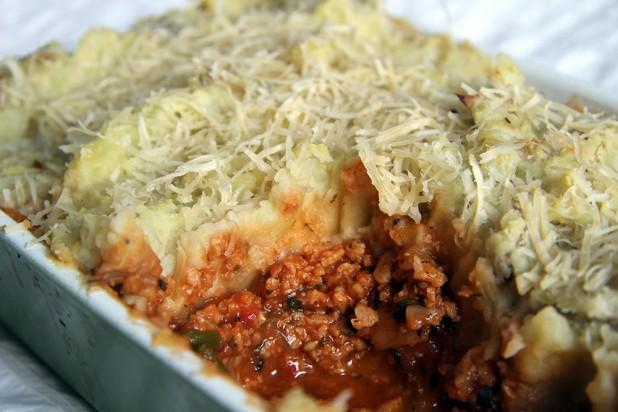 Pastel de carne con patata vegano