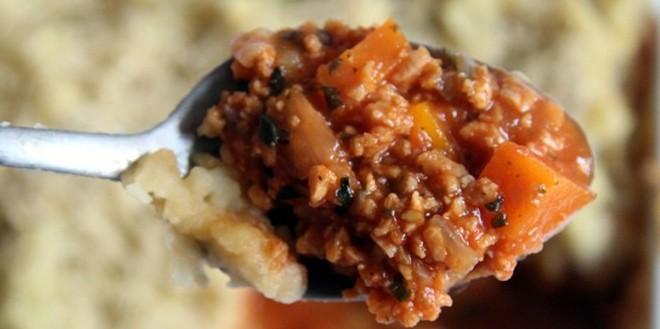 Pastel de patata y carne vegano