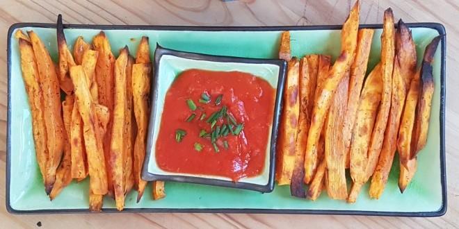 Chips de boniato y ketchup casero