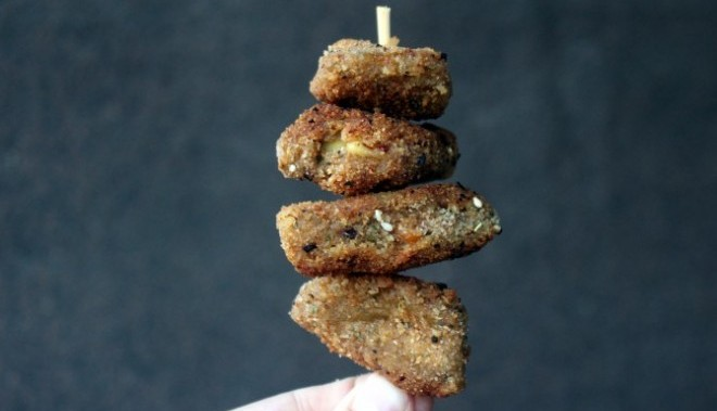Mini-escalopas de seitán con queso