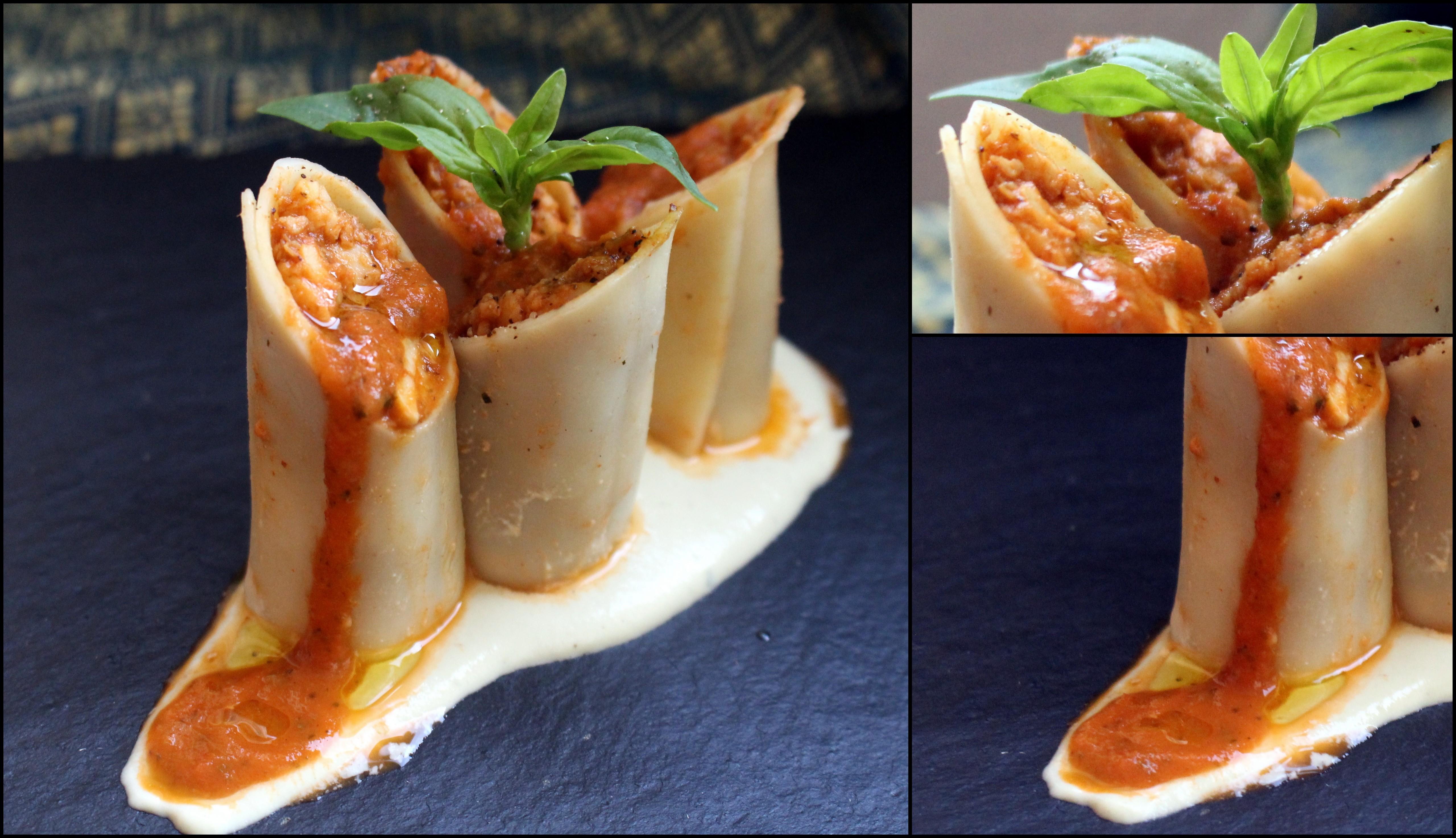 Canelones de tempeh con crema de queso casera
